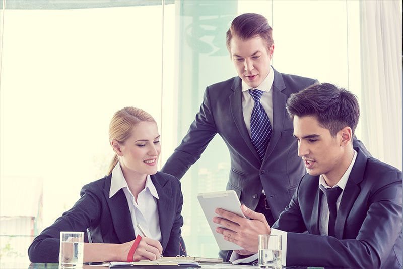Business employees utilizing security portal software